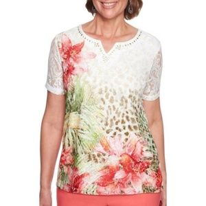 Parrot Cay Embellished Mixed Floral Top